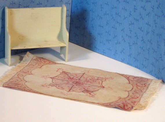 Red and tan OOAK miniature fabric rug