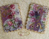 Ceramic Button, Handmade Rectangle Ceramic Button, Floral Buttons Supplies, OOAK