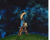 Russian Blue Cat Outsider Folk art print by Todd Young Painting the Moon