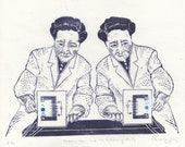 Linocut History of Physics - Madame Wu and the Violation of Parity - 2nd Edition - Lino Block Portrait of Particle Physicist Chien-Shiung Wu