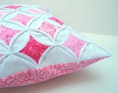 30% Off Decorative Pillow Cover Throw Pillow Pink Batik Cathedral Window 18 Inch