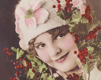Beautiful Tinted Vintage Postcard of Young Girl with Winter Berries