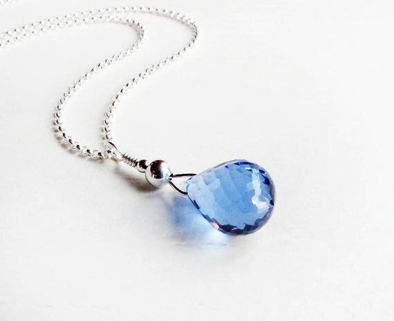 blue topaz necklace, London blue topaz briolette necklace blue topaz  sterling silver necklace AAA London blue topaz gemstone resort jewelry