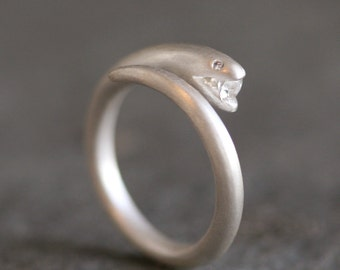 Small Open Mouth Snake Ring in Sterling Silver with Diamond and Sapphire