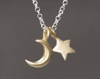 Small Moon and Star Necklace in Brass and Sterling Silver