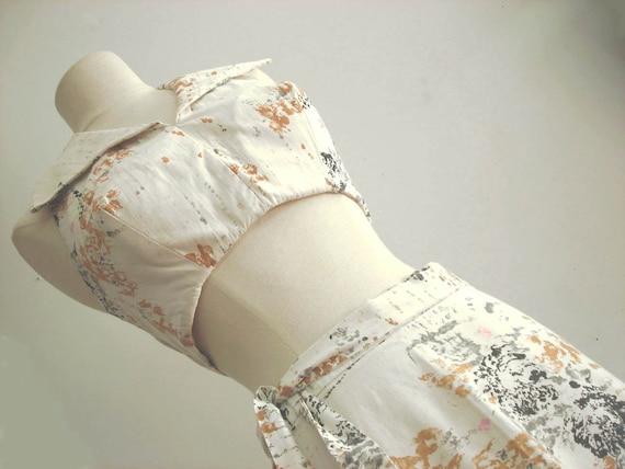 60s Beach Wear : Vintage Wrap Skirt Halter Top Set with Ties