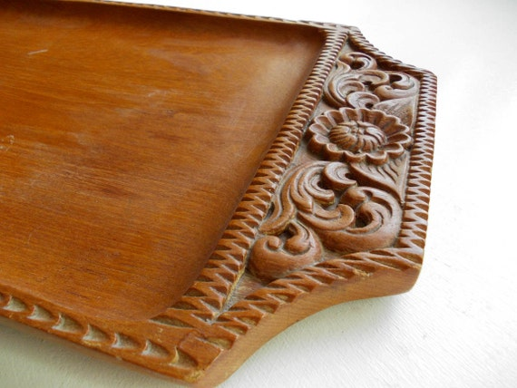 Mid Century Teak Tray Hand Carved Wooden Serving