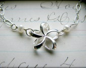 Petite Plumeria Bracelet - Sterling Silver - Aloha Hawaii Luau Hula Gift Best Friends Sisters Bridesmaids Daughter