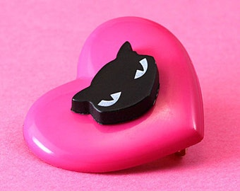 Heart & Black Cat Brooch - Pink and Black - Kawaii
