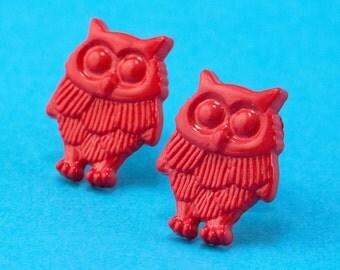 Red Owl Stud Earrings - Surgical Steel Woodland Bird Ear Posts