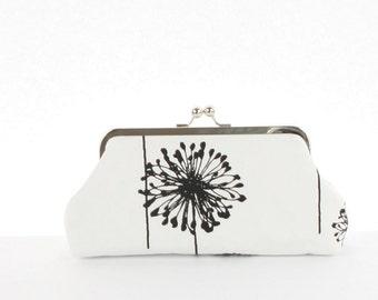 Dandelion Clutch Purse, Dandelion Bag, Dandelion Gift for her, Dandelion bridesmiads,Black White Dandelion Floral Bridesmaid Clutch Purse