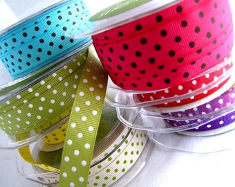 Trims Dotty Grossgrain Ribbons x7metres 1m of each colourway