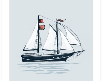 Children's Wall Art Print - Set Sail (BLUE) - Kids Nursery Room Decor