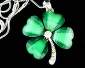Irish Swarovski Crystal Saint Patrick's Day Lucky Four Leaf CLOVER SHAMROCK Pendant Charm Chain Necklace New Gift - Kashuen