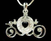 Swarovski Crystal Cinderella Dream Wedding Pumpkin Carriage Pendant Charm Chain Necklace Jewelry Best Friend Bridal Bridesmaid Party Favor