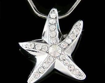Beach Bride Wedding Swarovski Crystal STARFISH star fish Marine Necklace