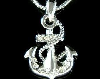 Dainty Swarovski Crystal Nautical Yacht Club ANCHOR Boat Ocean Pendant Necklace New