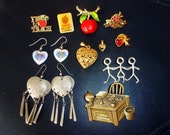 Vintage hearts and teacher jewelry- pins, earrings, pendant