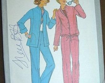 UNCUT 1977 pants suit vintage sewing pattern 10 simplicity, vintage Seventies sewing pattern pants blouson