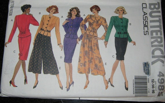 Butterick classics Top skirt culottes pants pattern women 12 14 16  Uncut Large 4985