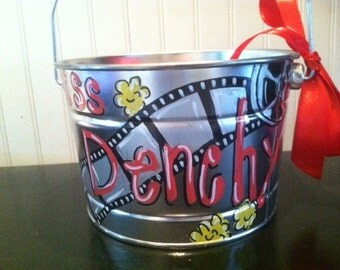 Cute movie hollywood bucket perfect for  teachers classroom or childs room hand painted and personalized