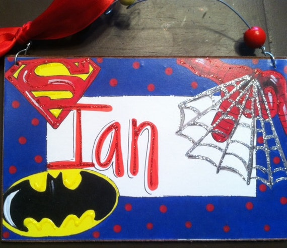 Hand personalized sign Super hero sign for boys