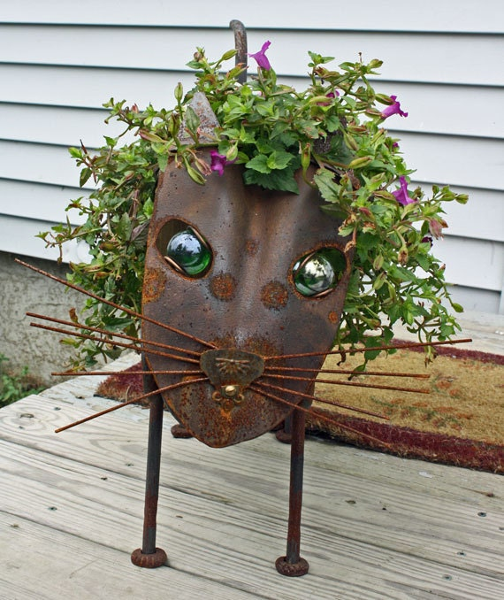 Items similar to cat sculpture found object metal garden for Cat yard art