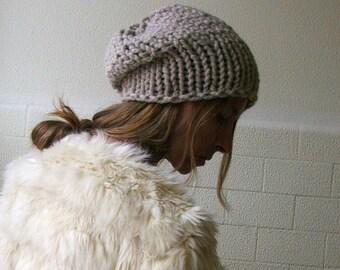 beige beanie hat / beige hat / slouchy hat / beige chunkier hand knit Autumn hat vegan friendly READY TO SHIP
