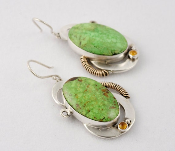 Vibrent Green Gaspeite and Citrine and Silver Earrings