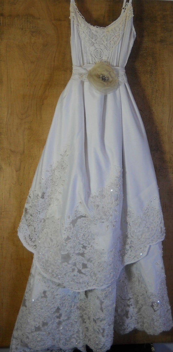 White wedding dress tiered beaded vintage rose romantic medium by vintage opulence on Etsy
