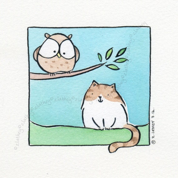 Owl Watching Pussy Cat Watching Owl - Original Watercolor - brown and white