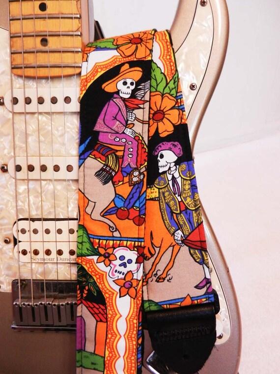 Day of the Dead Dia de los Muertos folklorico guitar strap