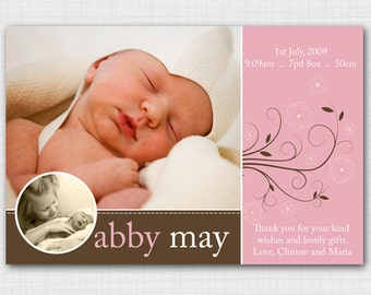 Modern photo birth announcement for baby girl AG106