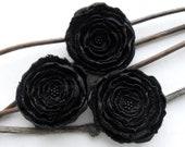 3 Big handmade black fabric flowers - home decor, wedding flowers, bridal decorations, corsage flowers, satin appliques, scrapbooking