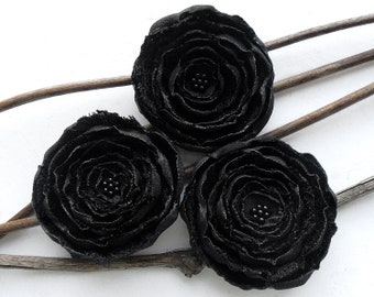 3 Big handmade black fabric flowers - home decor, wedding flowers, bridal decorations, corsage flowers, satin appliques, scrapbooking