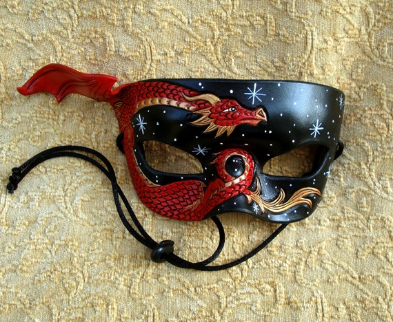 Red and Gold Dragon Mask... Starry Night.... hand made original leather mask