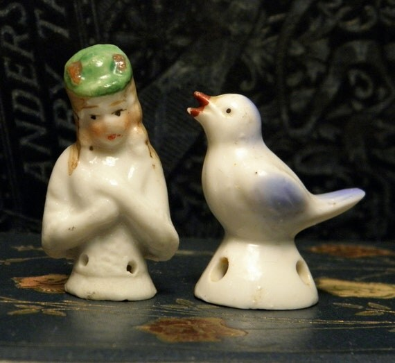 Vintage China Bird Pincushion Woman Figurine