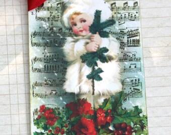 Christmas Holly Girl Gift Tag