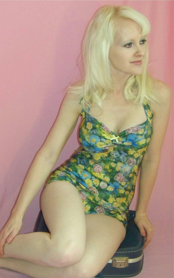 Floral retro one piece Pin Up Maillot Swimsuit Made to Order