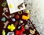 DIY I Spy Bag supplies - 30 trinkets, fabric label, and pellets - Kit S