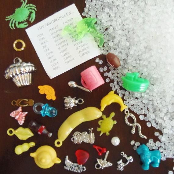 DIY I Spy Bag supplies - 30 trinkets, fabric label, and pellets - Kit U