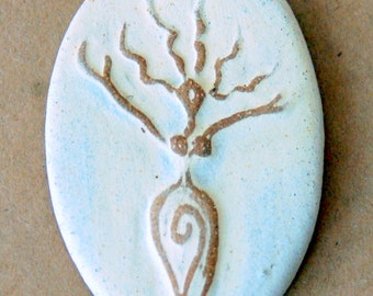 Uprising Goddess Bead - Stoneware Oval Goddess Bead in Neutral - perfect as Blessingway Gift
