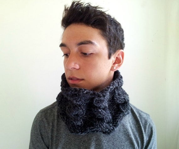 Chunky Cowl. Charcoal Gray Cabled. Handknit. For Men or Women.