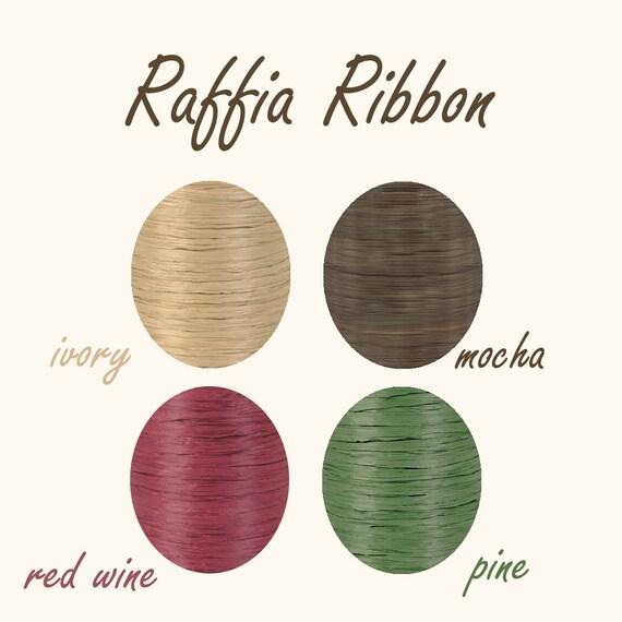 Raffia Ribbon - 100 Yards - Natural Ivory - Red Wine Burgundy - Pine Tree Olive - Mocha Chocolate