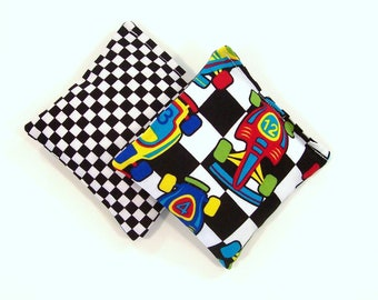 RACE CARS - Kids Bean Bag Set of 2 - Party Favor - Stocking Stuffer