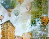 FREE SHIPPING SALE Hot Air Balloon Abstract Acrylic Resin Collage Skyscraper Cityscape Painting