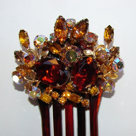 Amber Bridal Hairpiece Wedding Hair Comb Formal Vintage Rhinestone Jewelry