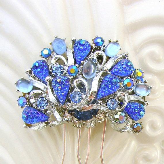 Something Blue Rhinestone Hair Comb Wedding Formal Vintage Jewelry Bridal Aurora Borealis