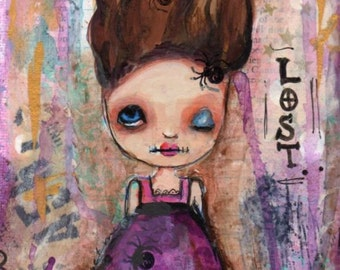mixed media painting, creepy doll painting, quirky art,  5 x 7 painting ,halloween art