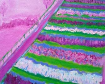 Field of Vegetables in Pinks Original Oil Painting